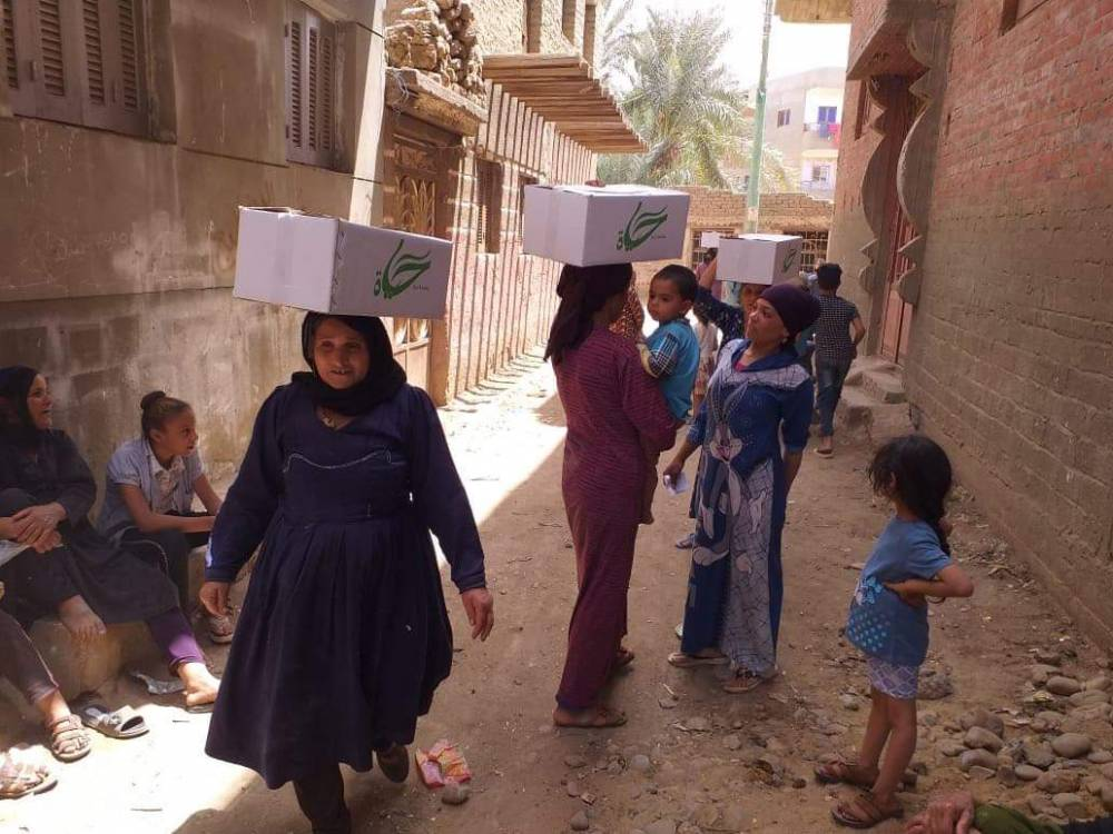 Food aid to the villages of isolation in Egypt to meet Corona